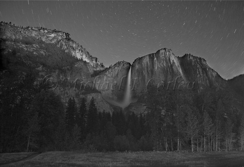 Yosemite Fall After Dark in Moon lite